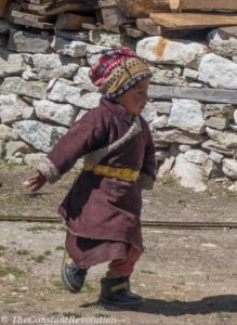 Bhotia kid on a playground of a tea house
