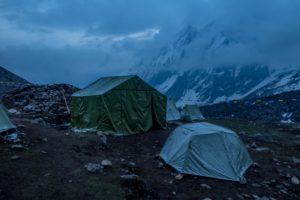 Dharmasala camp at dusk